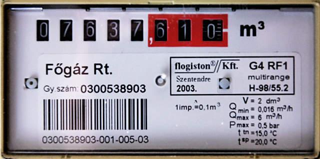 főgáz, gázmérő