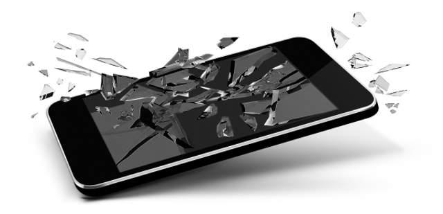 törött okostelefon