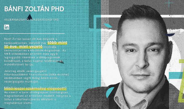 Bánfi Zoltán, a Solus Capital Kockázati Tőkealap-kezelő Zrt. vezérigazgatója