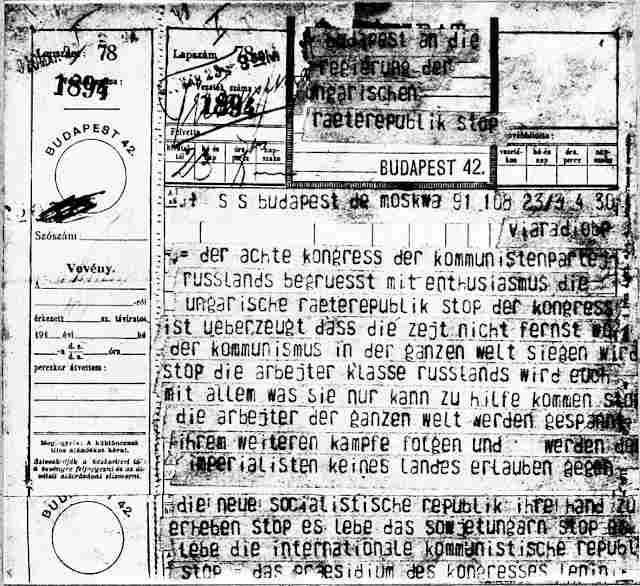 Lenin szikratávirata, amelyben az SZK(b)P VIII. kongresszusa nevében köszönti a Magyar Tanácsköztársaságot.MTI Fotó/MAFIRT